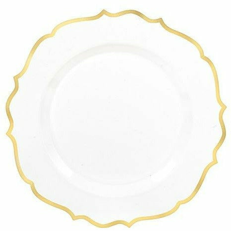 White Gold-Trimmed Ornate Premium Plastic Dessert Plates 20ct