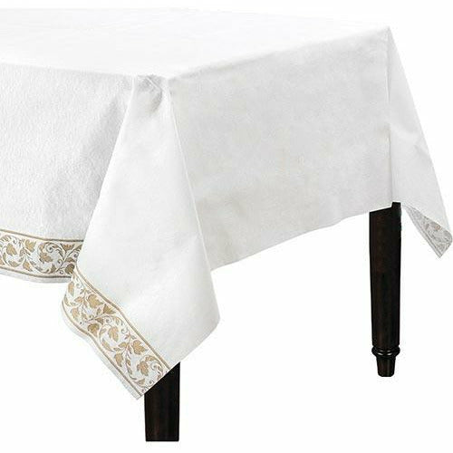 White Gold Scroll Premium Paper Table Cover