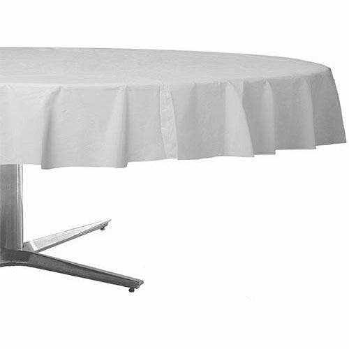 White Plastic Round Table Cover
