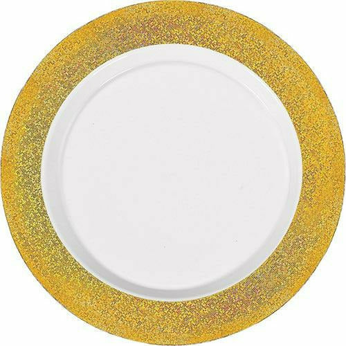 White Prismatic Gold Border Premium Plastic Dinner Plates 10ct