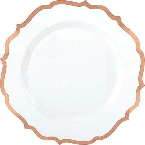 White Rose Gold-Trimmed Ornate Premium Plastic Dinner Plates 10ct