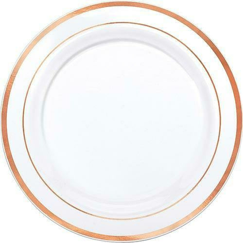 White Rose Gold Trimmed Premium Plastic Dinner Plates 10ct