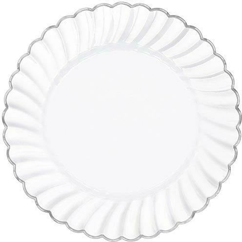 White Silver-Trimmed Premium Plastic Scalloped Dinner Plates 10ct