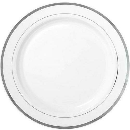 White Silver-Trimmed Premium Plastic Dinner Plates 10ct