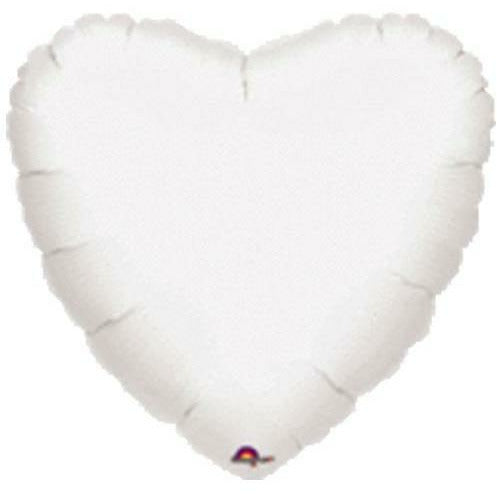 "035 White HX Metallic Heart 19"" Mylar Balloon"