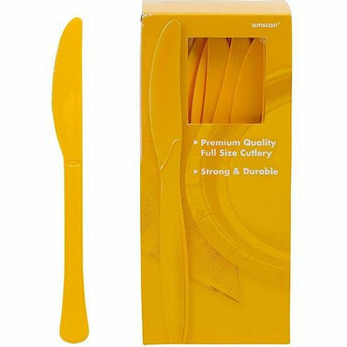 Big Party Pack Sunshine Yellow Premium Plastic Knives 100ct
