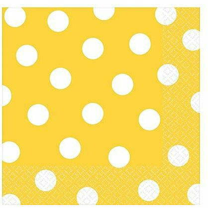 Sunshine Yellow Polka Dot Lunch Napkins 16ct