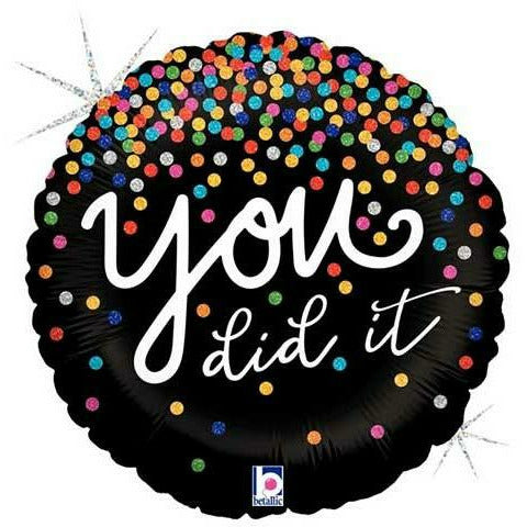 "577 Confetti You Did It 18"" Mylar Balloon"