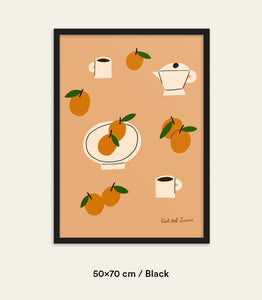 Oranges & Coffee Framed