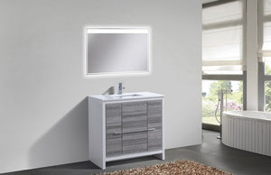 KubeBath Dolce 36″ Ash Gray Modern Bathroom Vanity with White Quartz Counter-Top - Bleu Gem