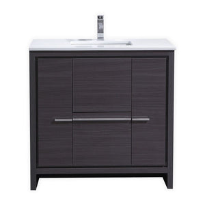 KubeBath Dolce 36″ Gray Oak Modern Bathroom Vanity with White Quartz Counter-Top - Bleu Gem