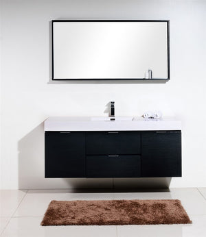 "KubeBath Bliss 60"" Single Sink Black Wall Mount Modern Bathroom Vanity - Bleu Gem"