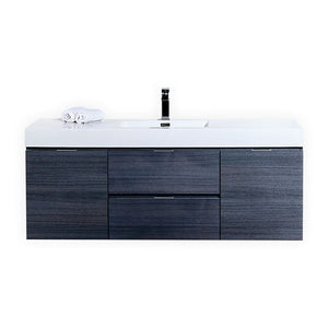 "KubeBath Bliss 60"" Single Sink Gray Oak Wall Mount Modern Bathroom Vanity - Bleu Gem"