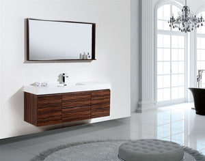 "KubeBath Bliss 60"" Single Sink Walnut Wall Mount Modern Bathroom Vanity - Bleu Gem"