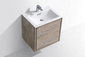 "KubeBath DeLusso 24"" Nature Wood Wall Mount Modern Bathroom Vanity - Bleu Gem"