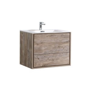 "KubeBath DeLusso 30"" Nature Wood Wall Mount Modern Bathroom Vanity - Bleu Gem"