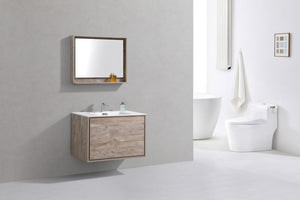 "KubeBath DeLusso 36"" Nature Wood Wall Mount Modern Bathroom Vanity - Bleu Gem"