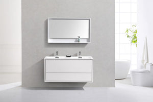"KubeBath DeLusso 48"" Double Sink High Glossy White Wall Mount Modern Bathroom Vanity - Bleu Gem"
