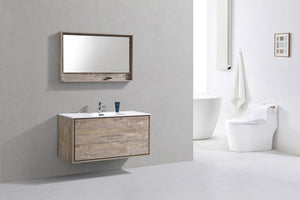 "KubeBath DeLusso 48"" Single Sink Nature Wood Wall Mount Modern Bathroom Vanity - Bleu Gem"