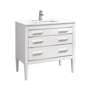 KubeBath Eiffel 36'' High Gloss White Vanity W/ Quartz Counter Top - Bleu Gem