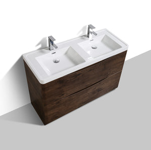 Eviva Smile® 48″ Rosewood Modern Bathroom Vanity Set with Integrated White Acrylic Double Sink - Bleu Gem