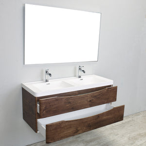 Eviva Smile® 48″ Rosewood Modern Bathroom Vanity Set with Integrated White Acrylic Double Sink Wall Mount - Bleu Gem