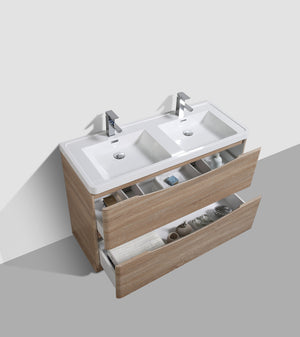 Eviva Smile® 48″ White-Oak Modern Bathroom Vanity Set with Integrated White Acrylic Double Sink - Bleu Gem