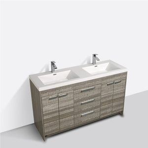 Eviva Lugano 60″ Ash Modern Bathroom Vanity with White Integrated Acrylic Double Sink - Bleu Gem