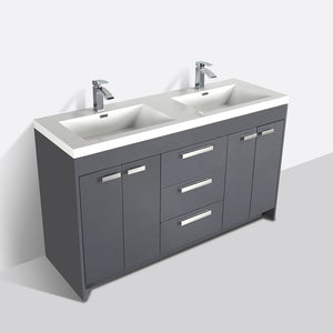 Eviva Lugano 60″ Gray Modern Bathroom Vanity with White Integrated Acrylic Double Sink - Bleu Gem