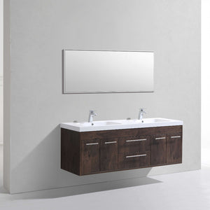 Eviva Lugano 60″ Rosewood Modern Bathroom Vanity Wall Mount with White Integrated Acrylic Double Sink - Bleu Gem