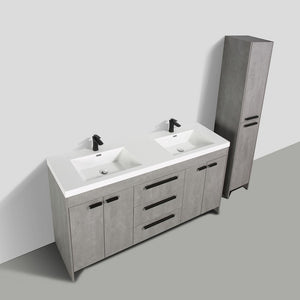 Eviva Lugano 72″ Cement Grey Modern Bathroom Vanity with White Integrated Acrylic Sink - Bleu Gem