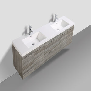 Eviva Luxury 84 Inch Ash Bathroom Vanity With Integrated Acrylic Sinks - Bleu Gem
