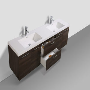 Eviva Luxury 84 Inch Gray Oak  Bathroom Vanity With Integrated Acrylic Sinks - Bleu Gem