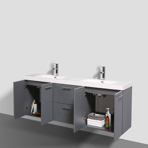 Eviva Luxury 84 Inch White Bathroom Vanity With Integrated Acrylic Sinks - Bleu Gem
