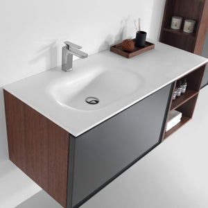 Eviva Napa 48″ Gray and Walnut Wall Mount Bathroom Vanity with White Integrated Solid Surface Sink - Bleu Gem
