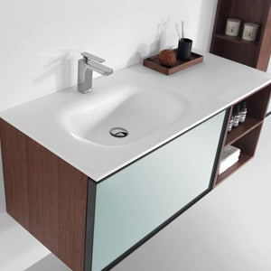 Eviva Napa 48″ White and Walnut Wall Mount Bathroom Vanity with White Integrated Solid Surface Sink - Bleu Gem