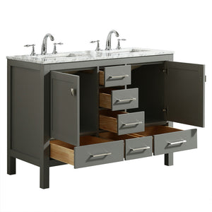 Eviva Aberdeen 48″ Transitional Gray Bathroom Vanity with White Carrara Countertop and Double Sinks - Bleu Gem