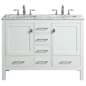 Eviva Aberdeen 48″ Transitional White Bathroom Vanity with White Carrara Countertop and Double Sinks - Bleu Gem