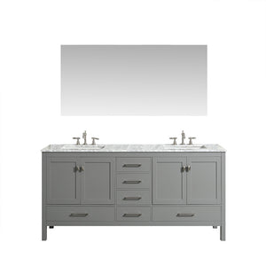 Eviva Aberdeen 84″ Transitional Grey Bathroom Vanity with White Carrera Countertop - Bleu Gem