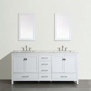 Eviva Aberdeen 84″ Transitional White Bathroom Vanity with White Carrera Countertop - Bleu Gem
