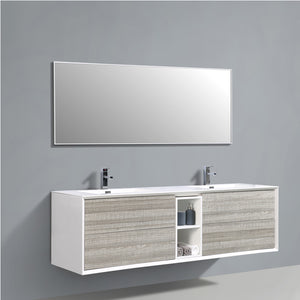 Eviva Vienna 75 in. Ash White Wall Mount Bathroom Vanity with White Integrated Acrylic Sink - Bleu Gem