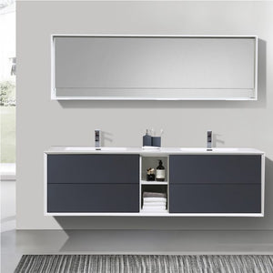 Eviva Vienna 75 in. Gray White Wall Mount Bathroom Vanity with White Integrated Acrylic Sink - Bleu Gem