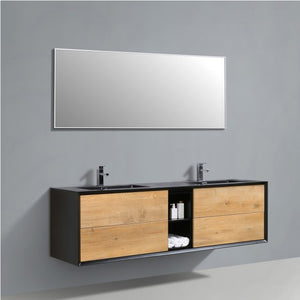 Eviva Vienna 75 in. Oak Black Wall Mount Bathroom Vanity with Light Black Integrated Acrylic Sink - Bleu Gem