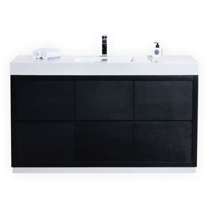 "KubeBath Bliss 60"" Single Sink Black Free Standing Modern Bathroom Vanity - Bleu Gem"