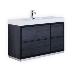"KubeBath Bliss 60"" Single Sink Gray Oak Free Standing Modern Bathroom Vanity - Bleu Gem"