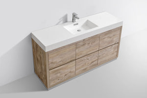 "KubeBath Bliss 60"" Single Sink Nature Wood Free Standing Modern Bathroom Vanity - Bleu Gem"