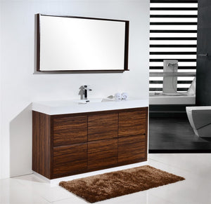 "KubeBath Bliss 60"" Single Sink Walnut Free Standing Modern Bathroom Vanity - Bleu Gem"