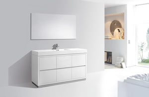 "KubeBath Bliss 60"" Single Sink High Gloss White Free Standing Modern Bathroom Vanity - Bleu Gem"