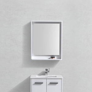 "KubeBath Bosco 24"" Framed Mirror With Shelve - Gloss White Finish - Bleu Gem"