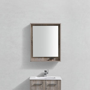 "KubeBath Bosco 24"" Framed Mirror With Shelve - Nature Wood Finish - Bleu Gem"